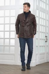 Мужская кожаная куртка больших размеров кроко. Фото 1.