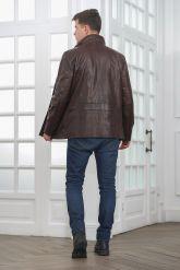 Мужская кожаная куртка больших размеров кроко. Фото 2.
