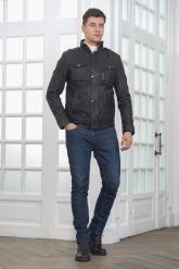 Мужская куртка из стиранной кожи в стиле милитари. Фото 1.
