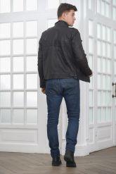 Мужская куртка из стиранной кожи в стиле милитари. Фото 2.