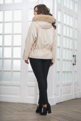 Короткая кожаная куртка с кулиской. Фото 2.