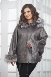 Короткая кожаная куртка с мехом летучая мышь. Фото 5.
