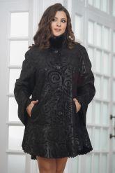 Удлиненная трапециевидная замшевая куртка с мехом. Фото 3.
