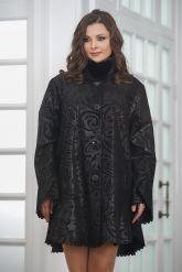 Удлиненная трапециевидная замшевая куртка с мехом. Фото 5.