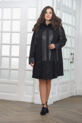 Трапециевидное кожаное пальто с капюшоном. Фото 1.