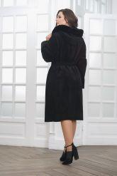 Классическое замшевое пальто с капюшоном. Фото 2.