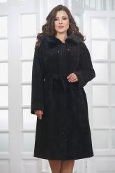 Классическое замшевое пальто с капюшоном. Фото 5.