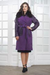 Итальянское пальто фиолетового цвета. Фото 1.