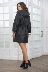 Удлиненная женская кожаная куртка. Фото 3.
