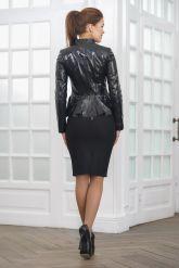Лаковая кожаная куртка с баской Хит 2019. Фото 2.