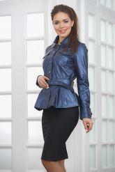Кожаная женская рубашка с баской. Фото 4.