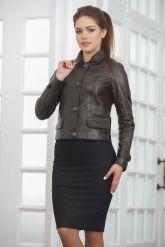 Короткая кожаная куртка на пуговицах. Фото 4.