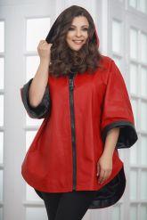 Кожаное пончо с укороченными рукавами красного цвета. Фото 5.