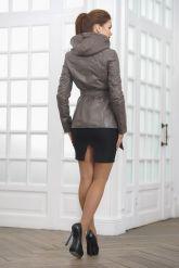 Классическая кожаная куртка с капюшоном. Фото 2.
