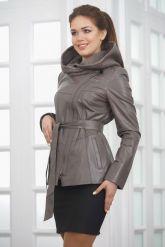 Классическая кожаная куртка с капюшоном. Фото 4.