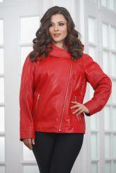Красная кожаная куртка косуха с капюшоном. Фото 4.