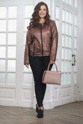 Короткая  женская кожаная куртка. Фото 1.