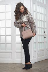 Кожаная женская куртка со вставками из натурального питона. Фото 1.