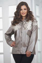 Кожаная женская куртка со вставками из натурального питона. Фото 4.