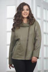 Женская кожаная куртка косуха с капюшоном. Фото 4.