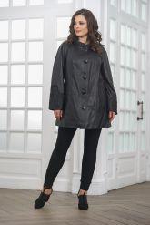 Удлиненная кожаная куртка на пуговицах. Фото 4.