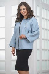 Женская кожаная куртка небесного цвета. Фото 5.
