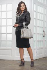Женская кожаная куртка со вставками из натурального питона. Фото 1.