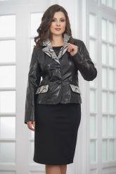 Женская кожаная куртка со вставками из натурального питона. Фото 3.