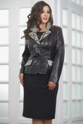 Женская кожаная куртка со вставками из натурального питона. Фото 5.
