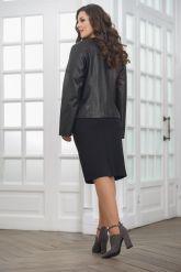 Женская дизайнерская кожаная куртка на молнии. Фото 2.