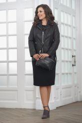 Удлиненная кожаная куртка на молнии женский. Фото 1.