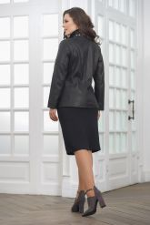 Удлиненная кожаная куртка на молнии женский. Фото 2.