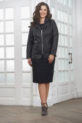 Удлиненная кожаная куртка на молнии женский. Фото 3.