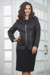Удлиненная кожаная куртка на молнии женский. Фото 5.