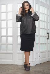 Короткая кожаная куртка с капюшоном больших размеров. Фото 3.