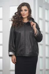 Короткая кожаная куртка с капюшоном больших размеров. Фото 4.