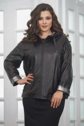 Короткая кожаная куртка с капюшоном больших размеров. Фото 5.