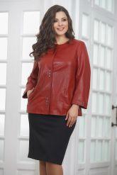 Весенняя кожаная куртка больших размеров терракотового цвета. Фото 4.