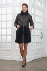 Теплое кожаное женское пальто. Фото 1.