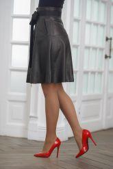 Кожаная миди-юбка. Фото 2.