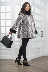 Женская демисезонная кожаная куртка под питона. Фото 1.