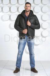 Мужской кожаный пуховик с капюшоном. Фото 1.