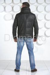 Мужской кожаный пуховик с капюшоном. Фото 2.