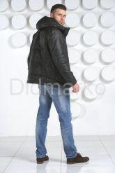 Мужской кожаный пуховик с капюшоном. Фото 5.