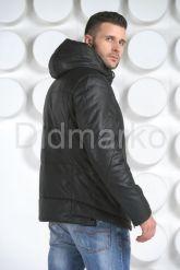 Мужской кожаный пуховик с капюшоном. Фото 6.
