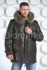 Мужская зимняя кожаная куртка черного цвета. Фото 2.
