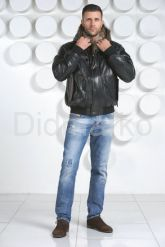 Модный кожаный пуховик. Фото 1.