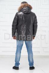 Мужской кожаный пуховик с мехом. Фото 6.