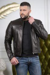 Кожаная мужская куртка черного цвета Осень 2019. Фото 2.