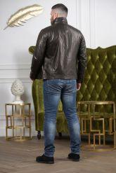 Короткая мужская куртка кожаная с планкой. Фото 1.